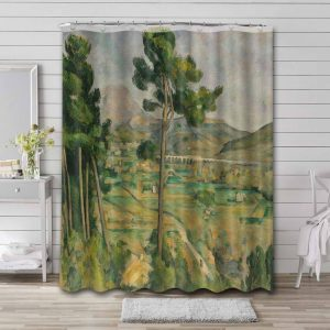 Paul Cezanne Mont Sainte-Victoire and the Viaduct of the Arc River Valley Bathroom Shower Curtain Waterproof