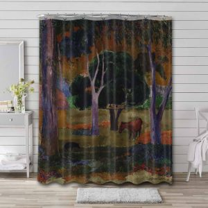 Paul Gauguin Landscape with a Pig and a Horse (Hiva Oa) Shower Curtain Bathroom Waterproof