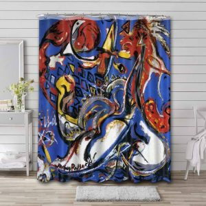 Jackson Pollock The Moon-Woman Cuts the Circle Shower Curtain Waterproof Polyester