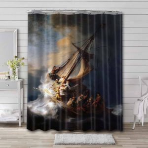 Rembrandt The Storm on the Sea of Galilee Shower Curtain Waterproof Polyester