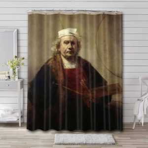 Rembrandt Self-Portrait with Two Circles Waterproof Bathroom Shower Curtain