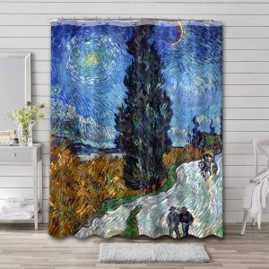 Vincent Van Gogh Road with Cypress and Star Waterproof Curtain Bathroom Shower