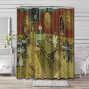 Vincent Van Gogh The Night Cafe Shower Curtain Waterproof Polyester