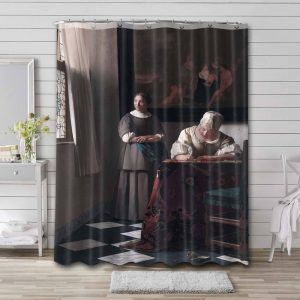 Johannes Vermeer Lady Writing a Letter with her Maid Waterproof Curtain Bathroom Shower