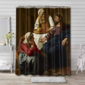 Johannes Vermeer Christ in the House of Martha and Mary Waterproof Curtain Bathroom Shower