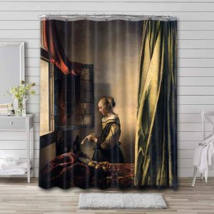 Johannes Vermeer Girl Reading a Letter at an Open Window Shower Curtain Waterproof Polyester