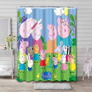 Peppa Pig Characters Shower Curtain Bathroom Decoration