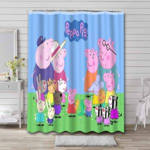 Peppa Pig Characters Shower Curtain Waterproof Polyester