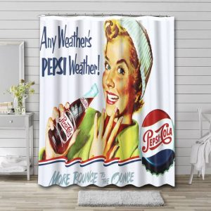 Pepsi Old Poster Shower Curtain Waterproof Polyester