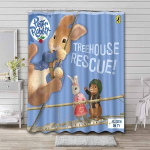 Peter Rabbit Treehouse Rescue Shower Curtain Waterproof Polyester