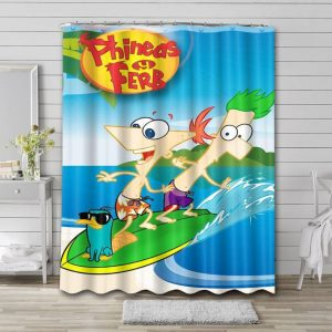 Phineas and Ferb Bathroom Shower Curtain Waterproof