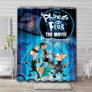Phineas and Ferb Across 2 Dimension Waterproof Shower Curtain Bathroom