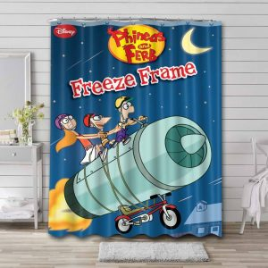 Phineas and Ferb Freeze Frame Shower Curtain Bathroom Waterproof