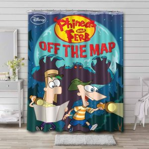 Phineas and Ferb Off The Map Shower Curtain Bathroom Decoration