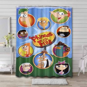 Phineas and Ferb Characters Shower Curtain Waterproof Polyester