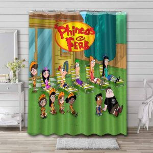 Phineas and Ferb Characters Bathroom Shower Curtain Waterproof