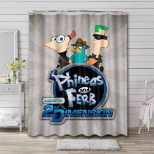 Phineas and Ferb 2 Dimension Waterproof Shower Curtain Bathroom