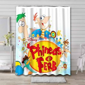 Phineas and Ferb Bathroom Curtain Shower Waterproof