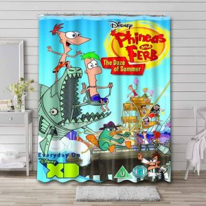 Phineas and Ferb Waterproof Curtain Bathroom Shower
