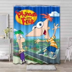Phineas and Ferb Shower Curtain Bathroom Decoration