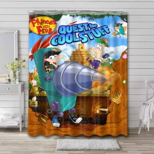 Phineas and Ferb Quest For Cool Stuff Shower Curtain Waterproof Polyester