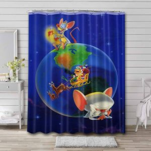 Pinky and the Brain Cast Bathroom Curtain Shower Waterproof