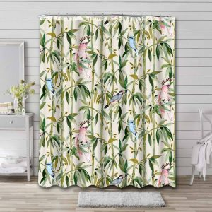 Bamboo Plants Shower Curtain Waterproof Polyester