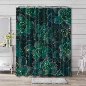 Succulent Shower Curtain Waterproof Polyester