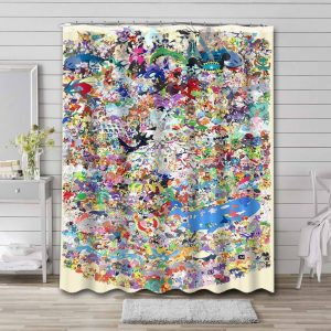 Pokemon Characters Shower Curtain Waterproof Polyester