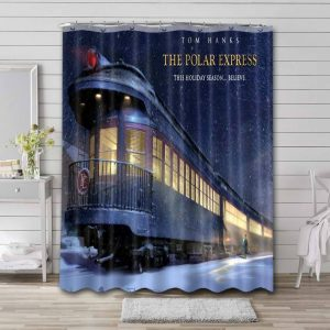 The Polar Express Shower Curtain Bathroom Decoration Waterproof Polyester Fabric.