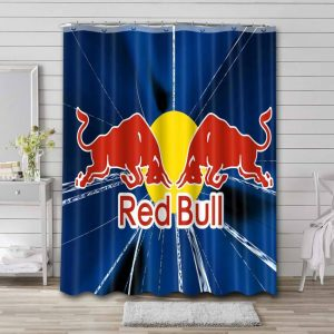Red Bull Logo Shower Curtain Waterproof Polyester