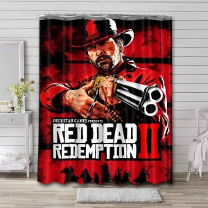 Red Dead Redemption Characters Shower Curtain Bathroom Decoration