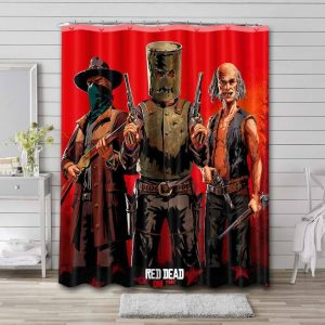 Red Dead Redemption Characters Waterproof Shower Curtain Bathroom