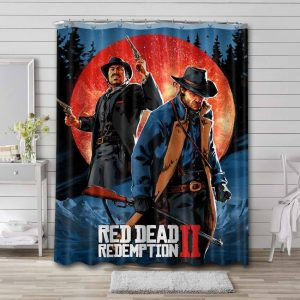 Red Dead Redemption Characters Bathroom Curtain Shower Waterproof