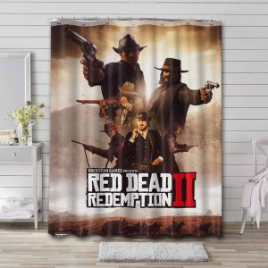 Red Dead Redemption Characters Waterproof Curtain Bathroom Shower
