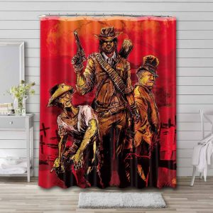 Red Dead Redemption Poster Shower Curtain Waterproof Polyester