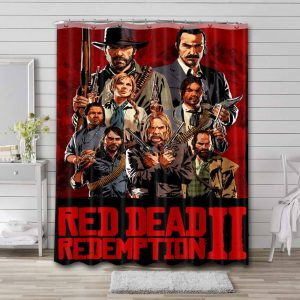 Red Dead Redemption Game Shower Curtain Waterproof Polyester