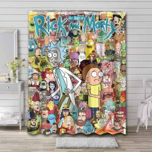 Rick and Morty Characters Shower Curtain Bathroom Waterproof