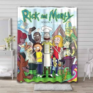 Rick and Morty Characters Shower Curtain Waterproof Polyester