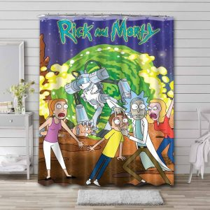 Rick and Morty Show Waterproof Shower Curtain Bathroom