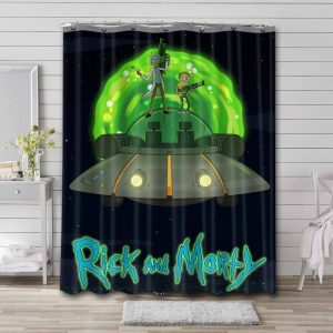 Rick and Morty Show Bathroom Curtain Shower Waterproof