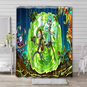Rick and Morty Show Waterproof Curtain Bathroom Shower