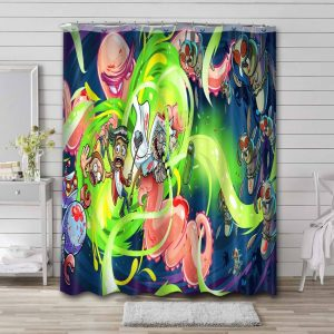 Rick and Morty Cartoon Shower Curtain Waterproof Polyester