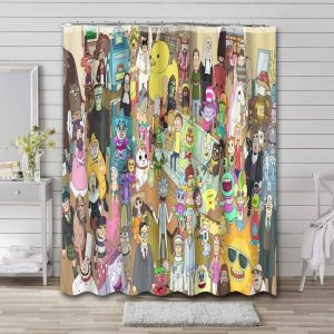 Rick and Morty Characters Bathroom Curtain Shower Waterproof