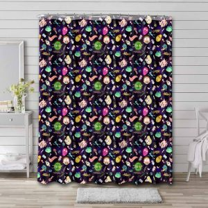 Rick and Morty Patterns Shower Curtain Bathroom Decoration