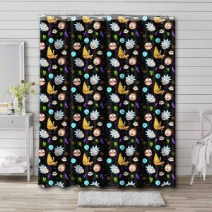 Rick and Morty Patterns Shower Curtain Waterproof Polyester