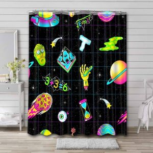 Rick and Morty Patterns Bathroom Shower Curtain Waterproof