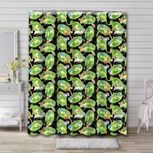 Rick and Morty Patterns Waterproof Shower Curtain Bathroom