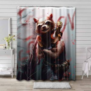 Rocket Guardian Of The Galaxy Shower Curtain Waterproof Polyester