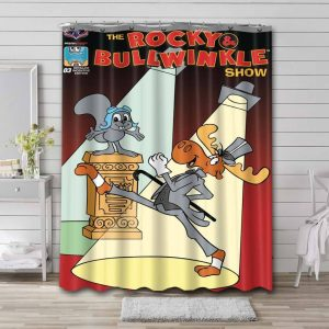 Rocky and Bullwinkle Characters Waterproof Curtain Bathroom Shower